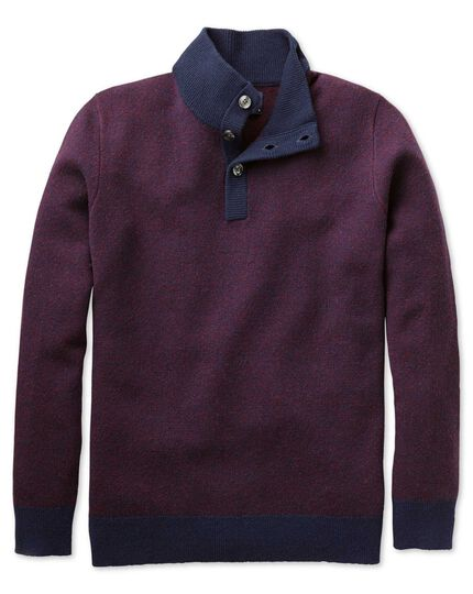 Navy jacquard button neck jumper