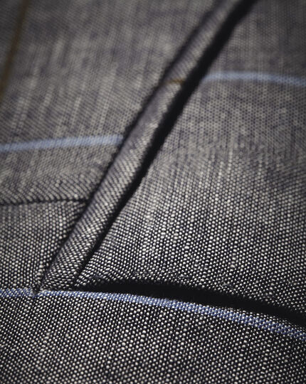 Slim fit navy check luxury wool linen jacket