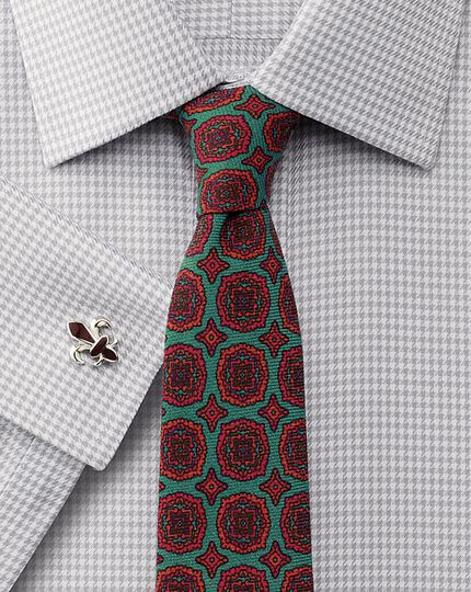 Slim fit non-iron houndstooth grey shirt