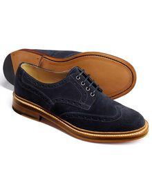Fenton Budapester Derby-Schuh mit Flügelkappen aus Veloursleder in marineblau