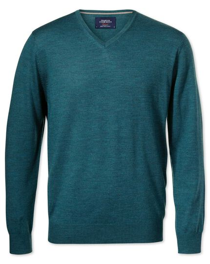 Teal merino wool v-neck sweater