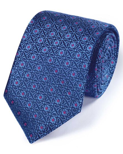 Royal blue silk English luxury geometric tie