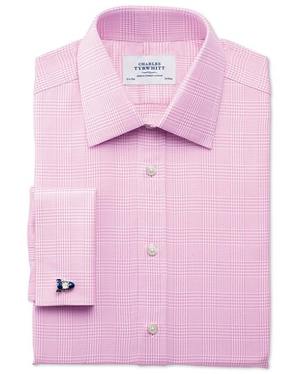 Classic fit Prince of Wales royal twill pink shirt