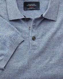 Sky blue heather short sleeve polo collar jumper