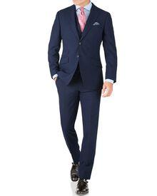 Slim Fit Businessanzug aus Panama-Gewebe in indigoblau mit Hahnentritt-Muster