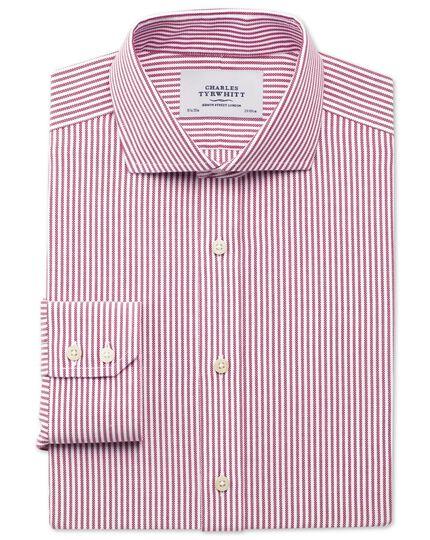 Slim fit non-iron royal Oxford stripe spread berry shirt