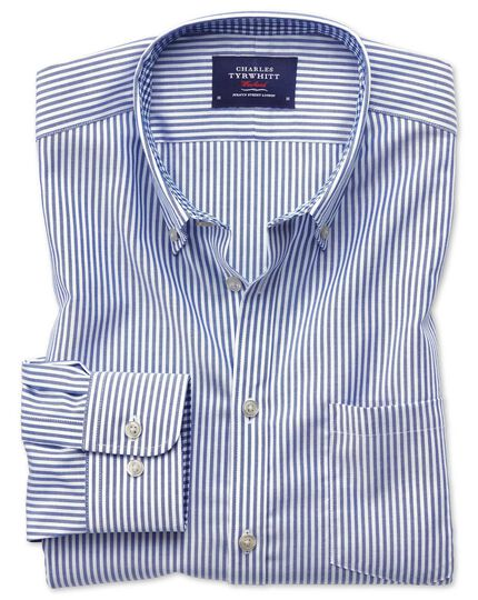Slim fit button-down non-iron Oxford Bengal stripe royal blue shirt