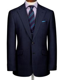 Navy slim fit city stripe suit jacket