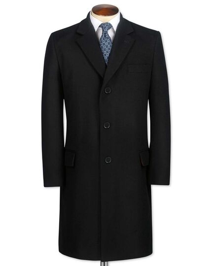 Classic fit black wool and cashmere overcoat