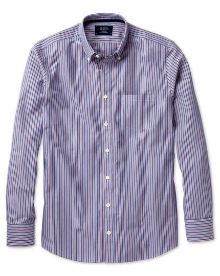 Slim fit blue and red stripe washed shirt