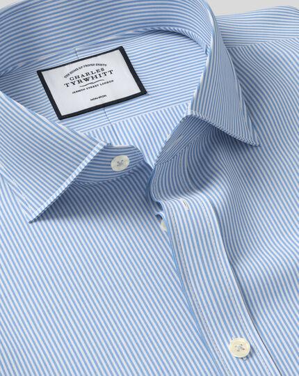 Slim fit spread collar non-iron Bengal stripe sky blue shirt