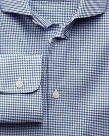 Slim fit business casual melange puppytooth royal shirt
