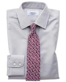 Bügelfreies Classic Fit Twill-Hemd in Grau