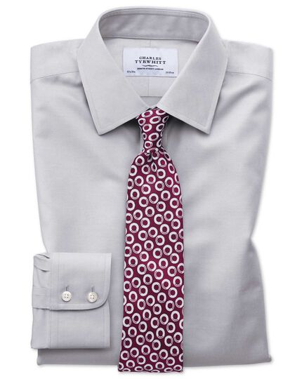 Classic fit non-iron twill grey shirt
