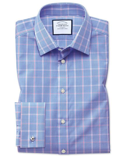 Extra slim fit Prince of Wales blue shirt