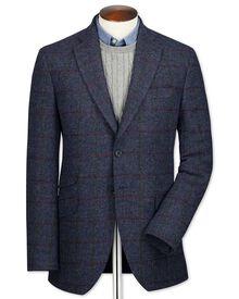 Veste bleu marine en tweed britannique avec carreaux et coupe droite