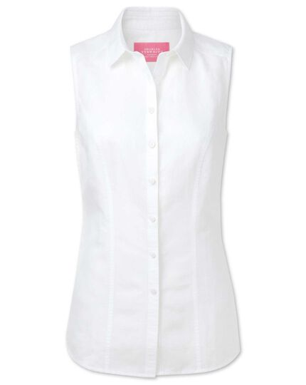 Women's semi-fitted linen sleeveless white shirt