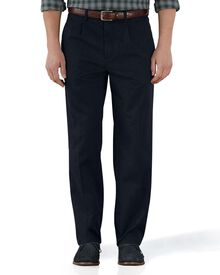 Navy classic fit single pleat chinos