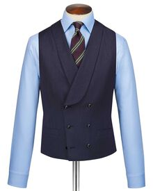 Navy adjustable fit Italian twill luxury suit vest