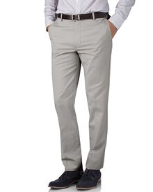 Silver grey slim fit flat front non-iron chinos