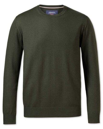 Dark green merino wool crew neck jumper