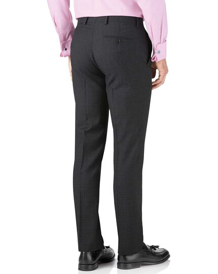 Charcoal slim fit sharkskin travel suit trouser