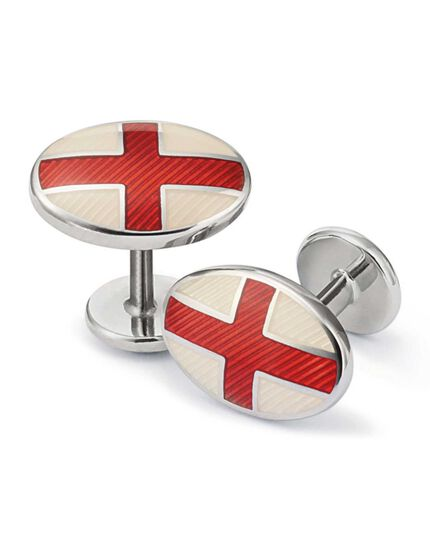 St George Cross enamel cuff links