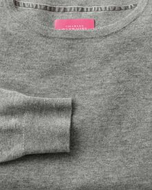 Light grey merino cashmere long line jumper