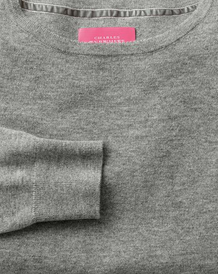 Light grey merino cashmere long line sweater