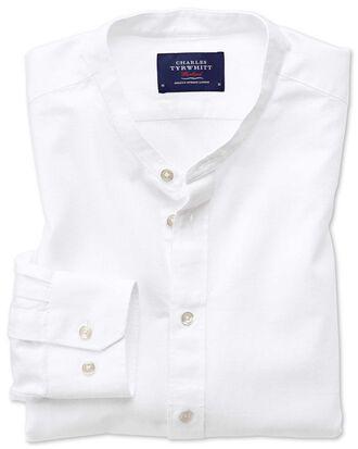Classic fit collarless white shirt