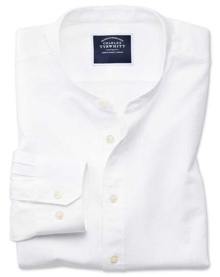Slim Fit Hemd ohne Kragen in Weiß
