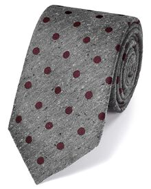 Grey silk silk fleck luxury tie