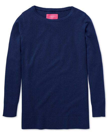 Blue merino cashmere long line sweater