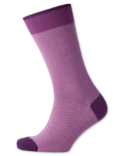 Pink herringbone socks
