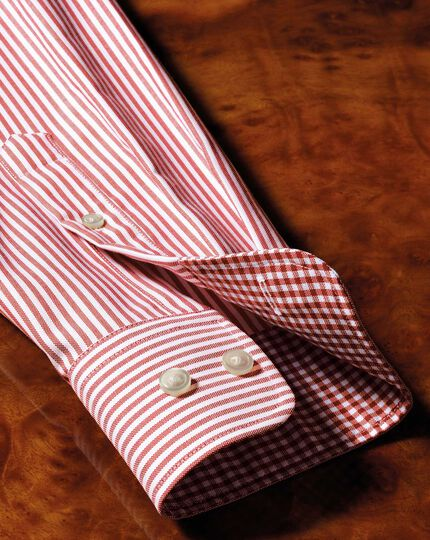 Slim fit button-down non-iron Oxford Bengal stripe rust shirt