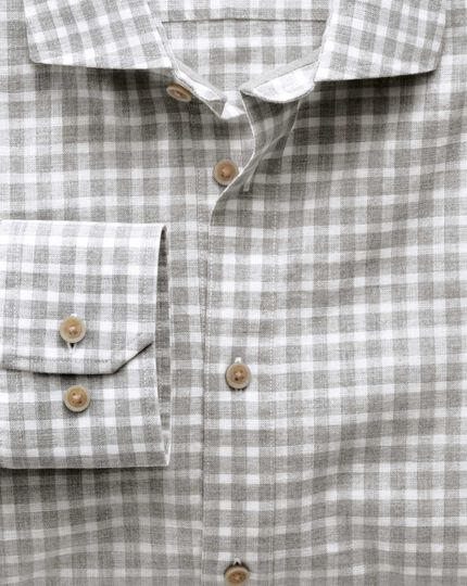 Slim fit spread collar popover light grey check shirt