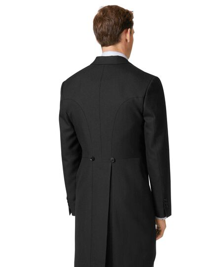 Black classic fit herringbone morning suit tail coat