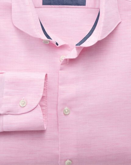 Slim fit cutaway collar business casual linen cotton light pink shirt