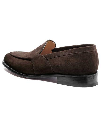 Brown Allet suede saddle loafer