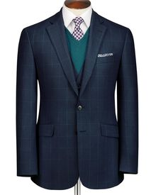 Mid blue classic fit windowpane travel jacket