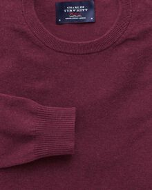 Wine cotton cashmere crew neck sweater