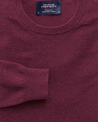 Wine cotton cashmere crew neck jumper