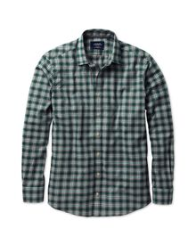 Slim fit green check heather shirt