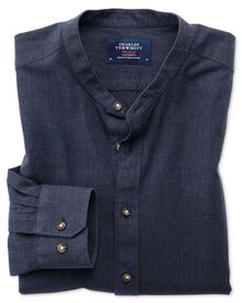 Classic fit collarless navy shirt