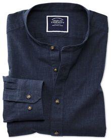 Slim fit collarless navy shirt