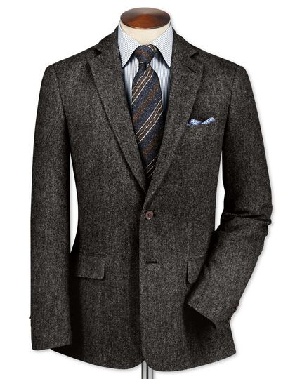 Classic fit charcoal lambswool hopsack jacket