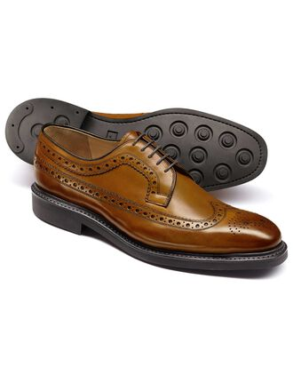 Tan Boyton wing tip brogue Derby shoes