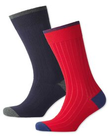 Navy and red ribbed 2 pack socks