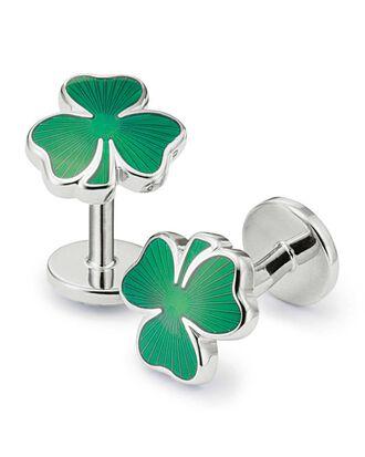 Irish shamrock enamel cuff links