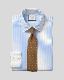 Extra slim fit non-iron twill stripe white and sky shirt